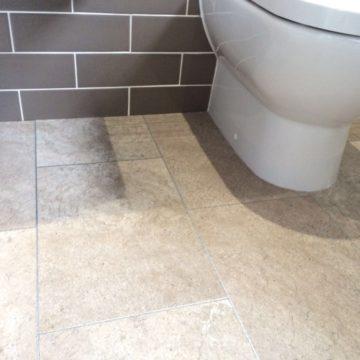 vinyl tile cut round toilet