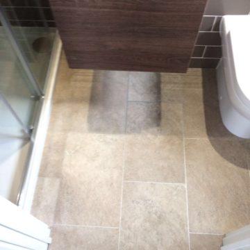Vinyl tile in shower room