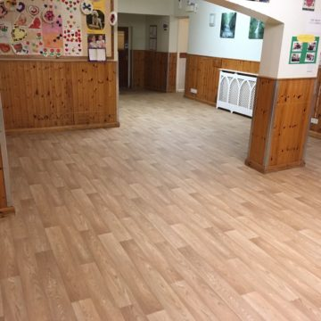Wood effect safety flooring in a big area