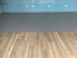 Kitchen flooring meets main restaurant floor