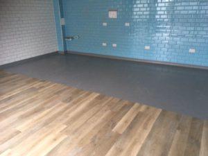 Kitchen flooring meets main restaurant floor