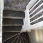 Dark grey soft feel silk carpet down the stairs
