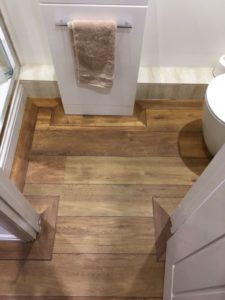 Dark/mid oak wood effect ship deck vinyl tile
