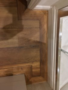 Dark/mid oak wood effect ship deck vinyl tile body and border