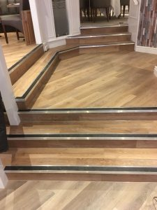 Karndean Knight Tile in wood effect on stairs with nosings