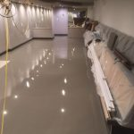 Latex smoothing compound in a hairdressers salon ready for new flooring