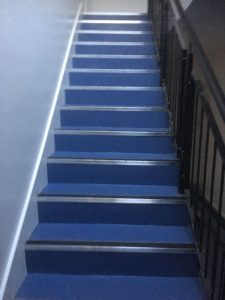 Polysafe Standard Artic Blue on communal stairs with slip resistant nosings nosings