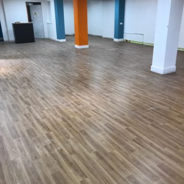 Pilgrims Hospice new Margate Shop new flooring wood effect mid oak