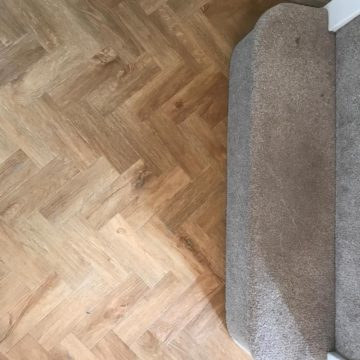 Amtico Form flooring colour Rural Oak Parquet laid herringbone